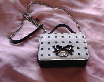 My Flat in London Jan Haedrich black and white crossbody bag with fur