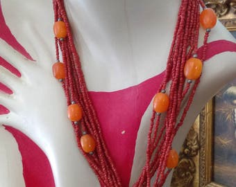 Vintage Moroccan Berber Coral and Amber Necklace