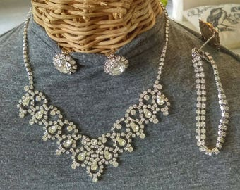 Vintage Rhinestone Chunky Parure Prom Necklace Bracelet Earrings