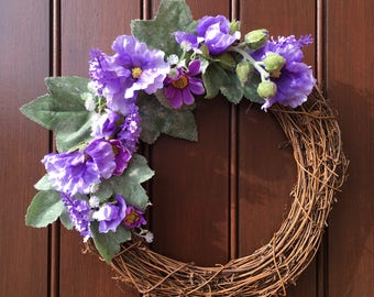 Purple artificial flower front door wreath with hollyhocks and purple daisies, gift for woman, wedding gift, birthday gift, floral wreath