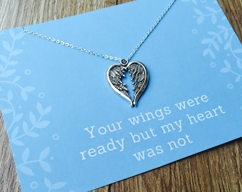 Loss Of A Loved One Necklace, Bereavement Necklace, Miscarriage Necklace, Angel Wings Charm Necklace
