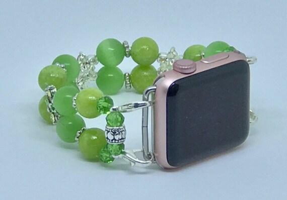 """Apple Watch Band, Women Bead Bracelet Watch Band, iWatch Strap, Apple Watch 38mm, Apple Watch 42mm, Green Size 7"""" - 7 1/4"""""""