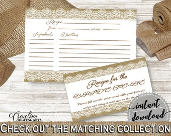 Recipe For The Bride To Be in Burlap And Lace Bridal Shower Brown And Tan Theme, recipe bride to be, party planning, party stuff - NR0BX