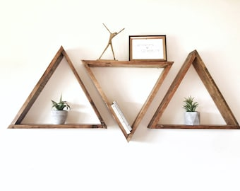 "18"" Set Of 3 Triangle Shelves. Triangle Shelf Set. Geometric Shelves. Modern Shelves. Hipster. Bohemian Shelf. Boho Shelves. Triangle shelf"