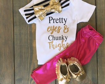 Pretty eyes and chunk thighs | baby onsie|