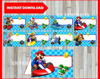 80% OFF SALE Printable Mario Kart Food labels instant download, Mario Bros party Food tent cards, Printable Mario Kart Tent cards