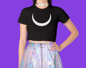 Crescent Moon Crop Top // Kawaii // Grunge // Goth // Punk // Black White // Graphic Tee // Jersey Short Sleeve Cropped T-Shirt // S M L XL