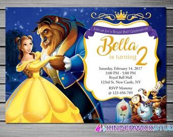 Beauty And The Beast Invitation Belle Birthday Invitations