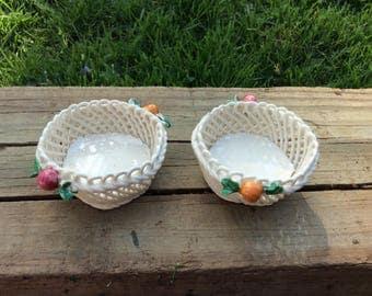 Pair of small Italian handmade baskets
