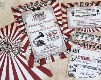 Vintage Carnival Themed Wedding Invitation. Circus themed wedding invitation. Steampunk circus. Steampunk carnival wedding invitations