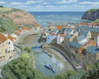 Staithes North Yorkshire  England Mounted  Limited Edition Giclee Print from an Original Oil Painting