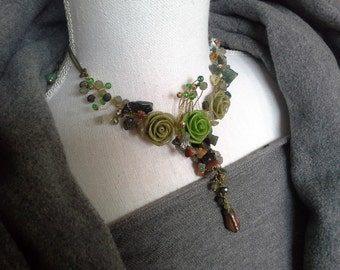 Beaded necklace, Wedding jewelry, Nature jewelry, Gemstones jewelry, Romantic style.