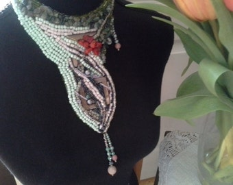 Statement necklace, Green necklace, Beaded Jewelry, Embroidered Necklace.