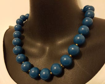 80s Teal Blue Wooden Bead Necklace