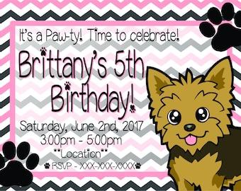 Yorkie Kids Birthday Invitation