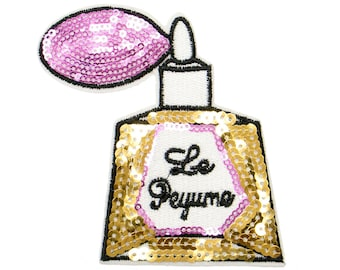 Free Shipping! Gold Perfume Sequins Iron-On Patch, Sequins Applique