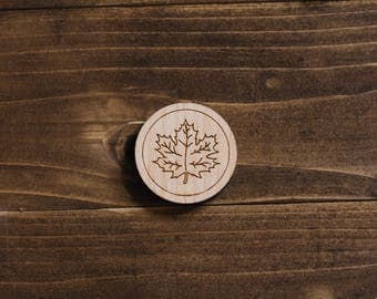 Wooden Maple Leaf Pin - Laser Cut Pin