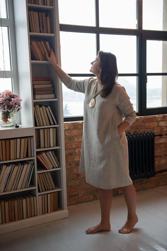SALE Linen dress, Long sleeves, Boho dress, Light brown linen dress, Linen Tunic dress, Womens dress, All seson, Oversized