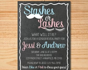 Chalkboard Stashes or Lashes Gender Reveal Invitation, Gender Reveal Invite, Stashes Or Lashes, Baby Reveal Invite, Gender Reveal Party