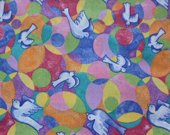 "Doves & colored circles quilting fabric 36"" x 45"""