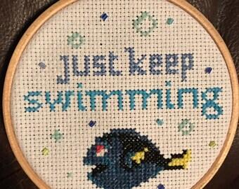 Finding Nemo 'Just Keep Swimming' Cross Stitch Dory