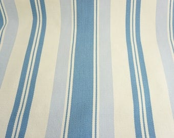 Striped Fabric, Woven Fabric, Jacquard Striped, Ticking, Cotton Cloth, Blue, Periwinkle and Off White Stripes, Grosgrain Texture, Free Ship