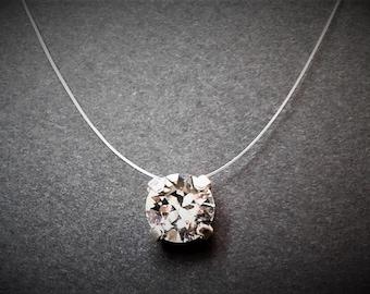 Collar nylon wire / wire ras fishing of the neck, Silver 925, rhinestones 8mm Crystal SWAROVSKI ELEMENTS