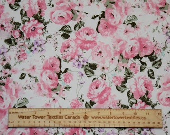 Double Brushed Polyester Spandex, Pink on Ivory – 1/2 meter