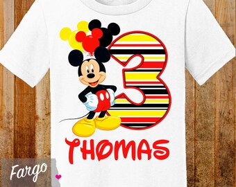 Mickey Mouse Birthday Shirt // Personalized Birthday Shirt // 1st 2nd 3rd 4th Birthday Shirt // Name & Age