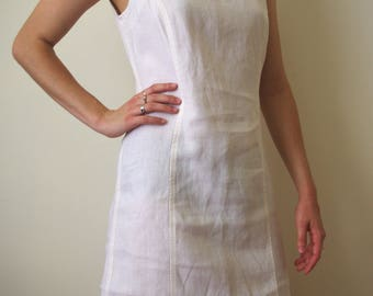 LINEN 90's white shift dress