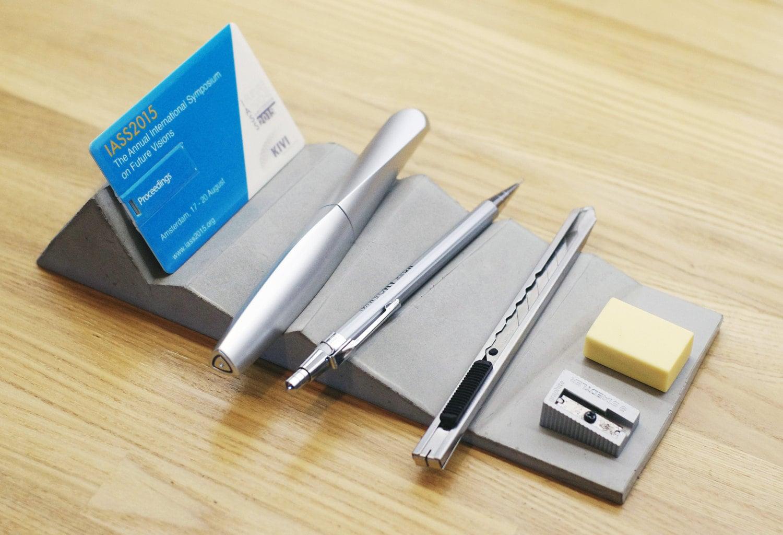 Concrete desk organizer pen holder mountain folded origami - Origami desk organizer ...