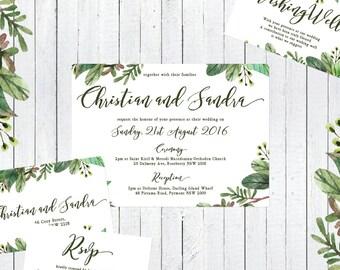 rustic wedding invitation, event invitation, wedding suite, rustic, floral