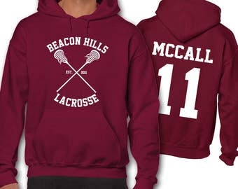 McCall 11 Teen Wolf Lacrosse Hoodie Adult Hoodies Beacon Hills Unisex Men's Gift Present
