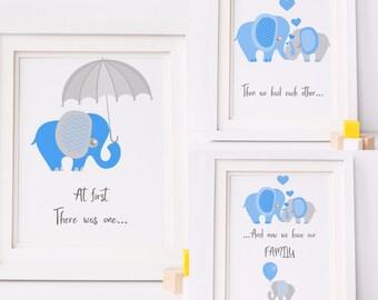 Set of 3 Blue Elephants/ Family Elephant Prints/ A4 Set of 3/ Elephant Family
