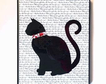 BLACK CAT silhouette art print, black cat wall art