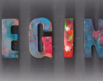 Space Inspired Personalized Names Crayon letters