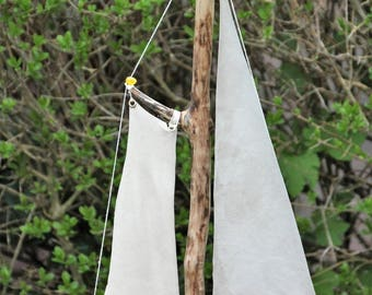 Sailboat from driftwood, goat leather and amber - sailboot from driftwood, leather and amber