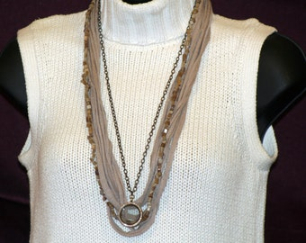 Light Brown T-Shirt Necklace with Locket