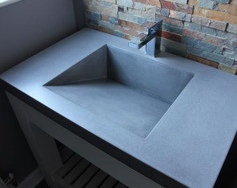Concrete Industrial Square Ramp Sink / Basin in Cool Grey / with or without base / Bathroom Vanity