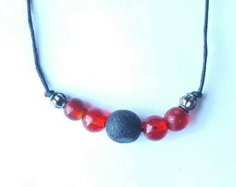 Lava diffuser necklace - glass beads and lava stone essential oil jewelry - made to order custom color bead adjustable necklace - free ship