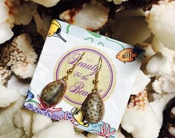 Hawaiian Honey Cowry Earrings, dangle earrings, gifts for her, hawaiian jewelry,  surfer girl, beach