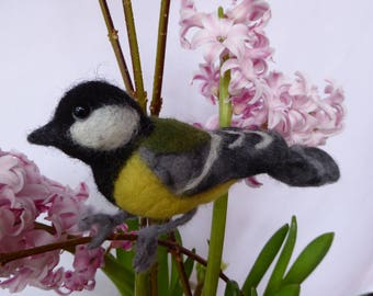 Great tit, sitting, meise, bird, felt