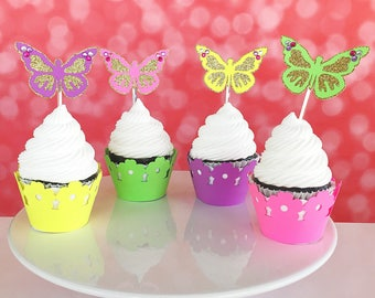 Butterfly Cupcake Toppers, Garden Party Cupcake Picks, Cupcake Decor, Birthday, Set of 12