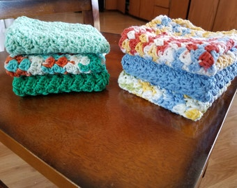 Handmade crocheted dishcloths.  Once you try these handmade dishcloths you will never go back to using store bought ones again! 3 for 9.00