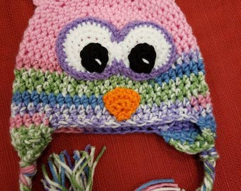 Cute owl hats with earflaps. Handmade crochet item. Many sizes and colors available.