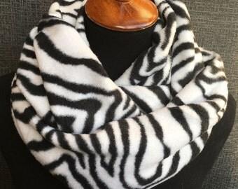 Zebra Scarf, Fleece Scarf, Animal Print Scarf, Fabric Scarf, Fashion Scarf, Black White Scarf, Winter, Infinity Scarf, Mother's Day Gift