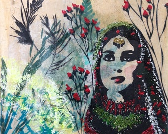 Acrylic painting, printing, collage, India, painting, Indian woman, summer, spring, prints, grasses