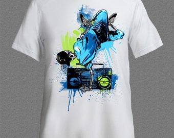 Break Dance Skeleton Rap Hip Hop Music Funny Cool T-shirt