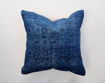 Indigo Blue Vintage Turkish Rug Pillow