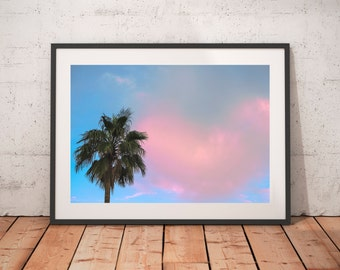 Palm Trees and a Pink Sky Sunrise over Lake Mead, Nevada, Art Print, Wall Decor
